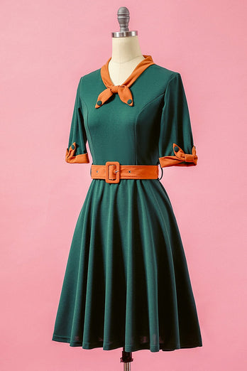 Green Patchwork V Neck Swing Party Dress