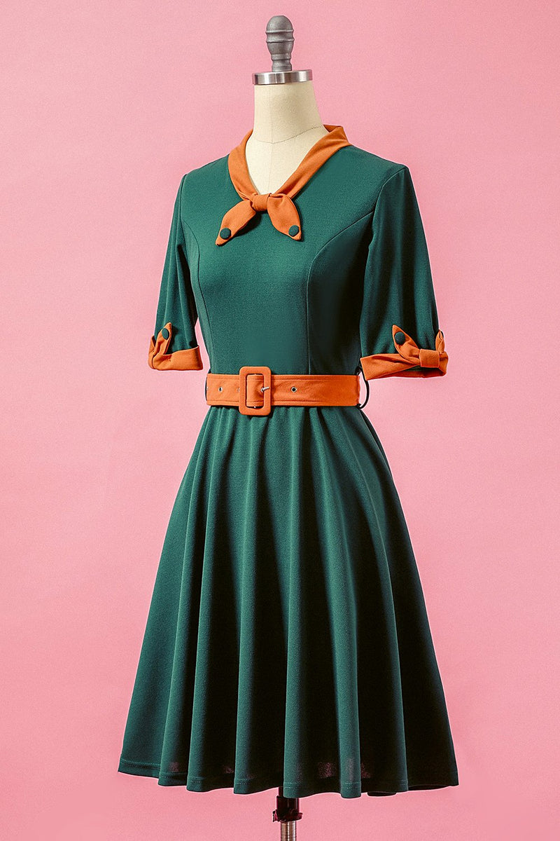 Load image into Gallery viewer, Green Patchwork V Neck Swing Party Dress