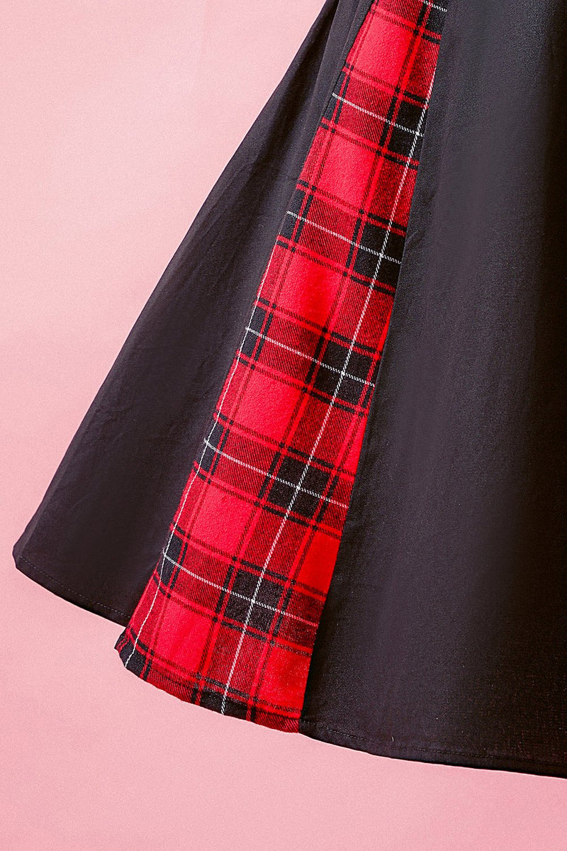 Load image into Gallery viewer, Black Patchwork Plaid V Neck Swing Party Dress