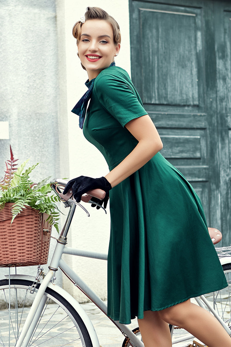 Load image into Gallery viewer, Green Plaid Swing Vintage 1950s Dress