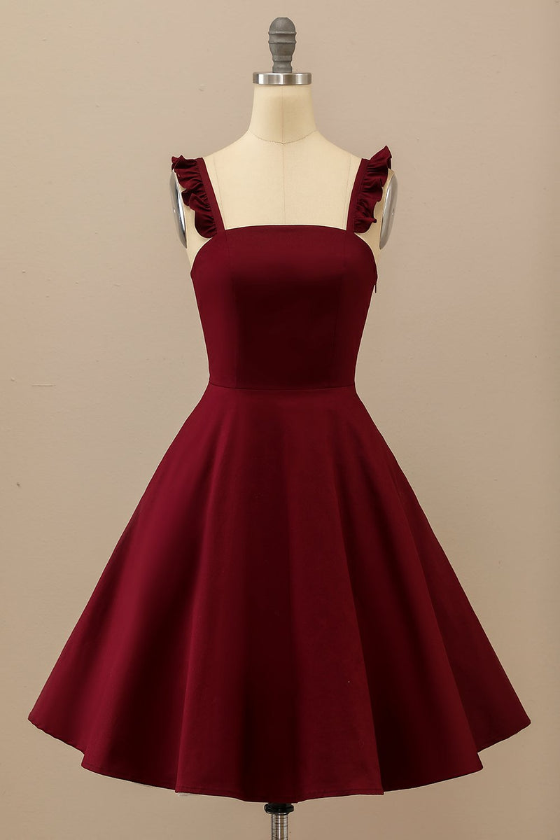 Load image into Gallery viewer, Burgundy Midi Swing Dress