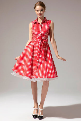 Sleeveless Polka Dot 1950s Dress