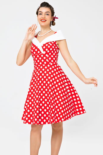 Off Shoulder Red White Dots Dress