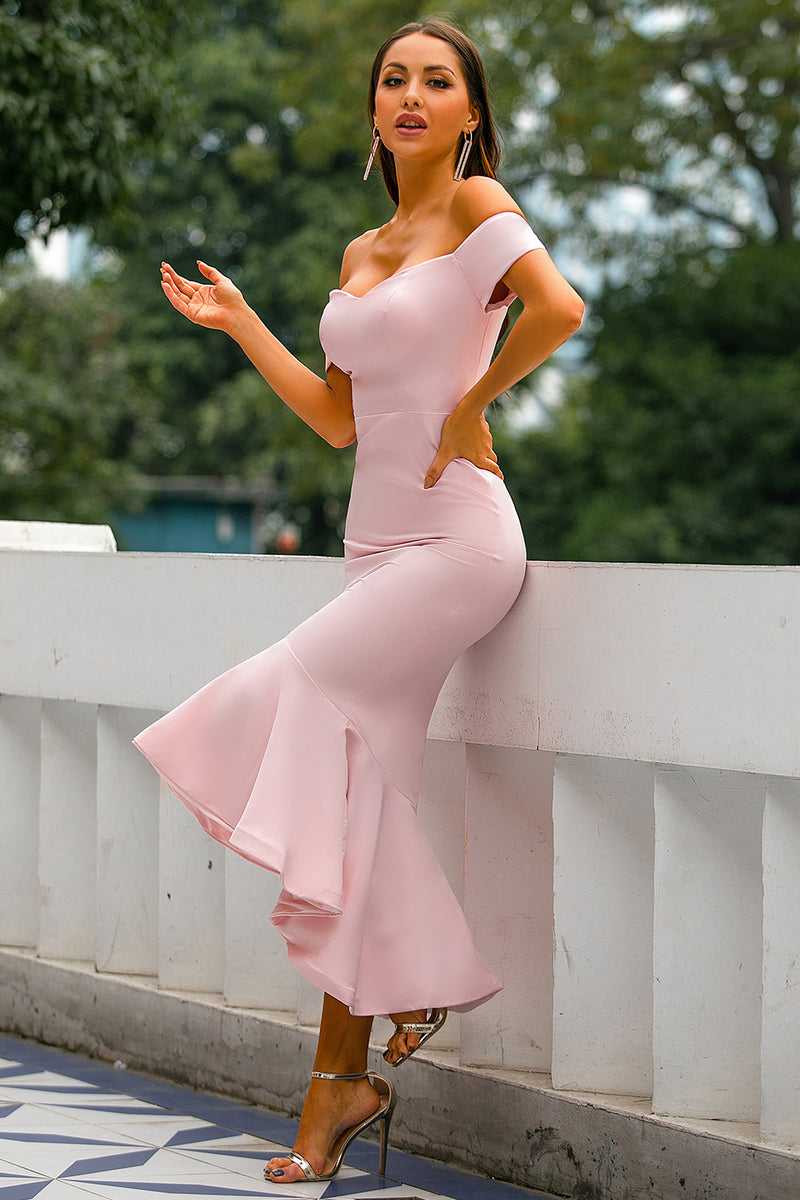 Load image into Gallery viewer, Pink Mermaid High Low Dress