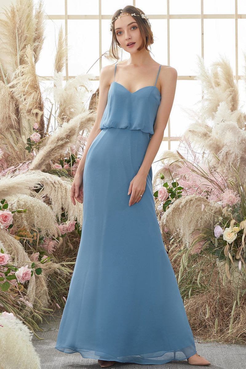 Load image into Gallery viewer, Baby Blue Long Chiffon Birdesmaid Dress