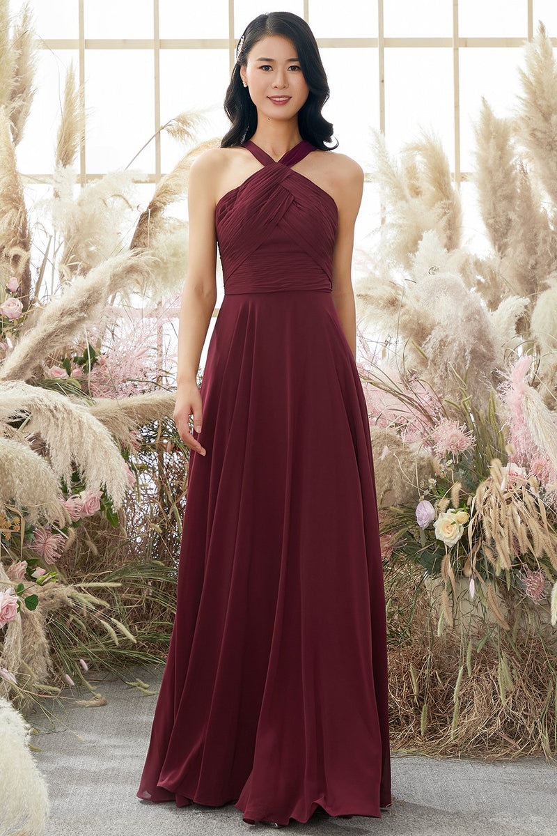 Load image into Gallery viewer, Burgundy Halter Chiffon Bridesmaid Dress