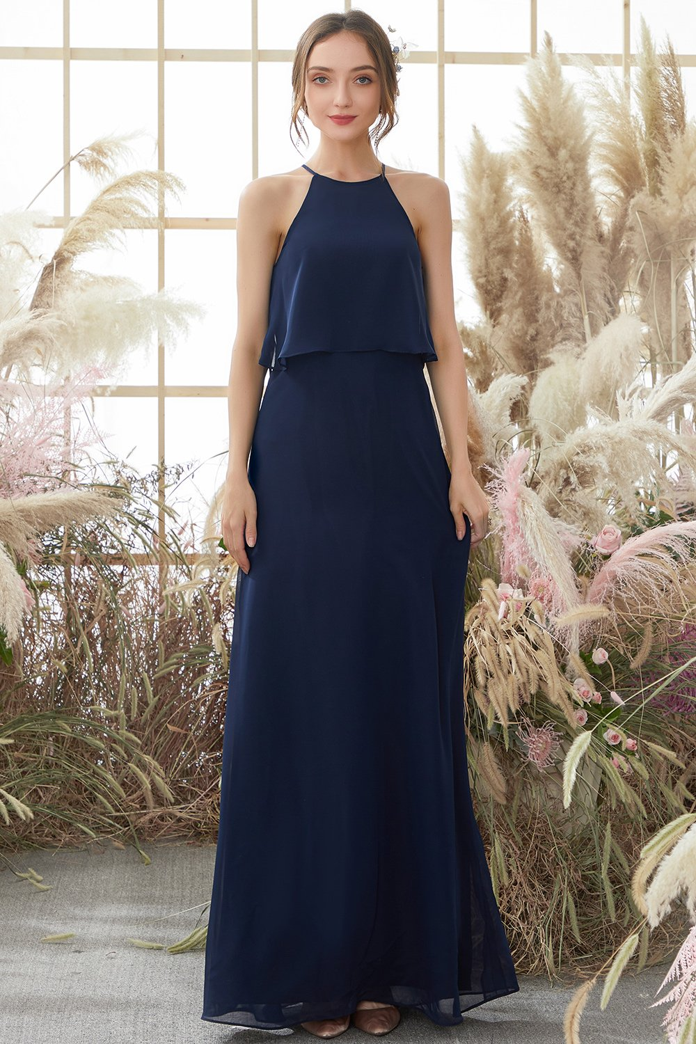 Halter Navy Chiffon Bridesmaid Dress