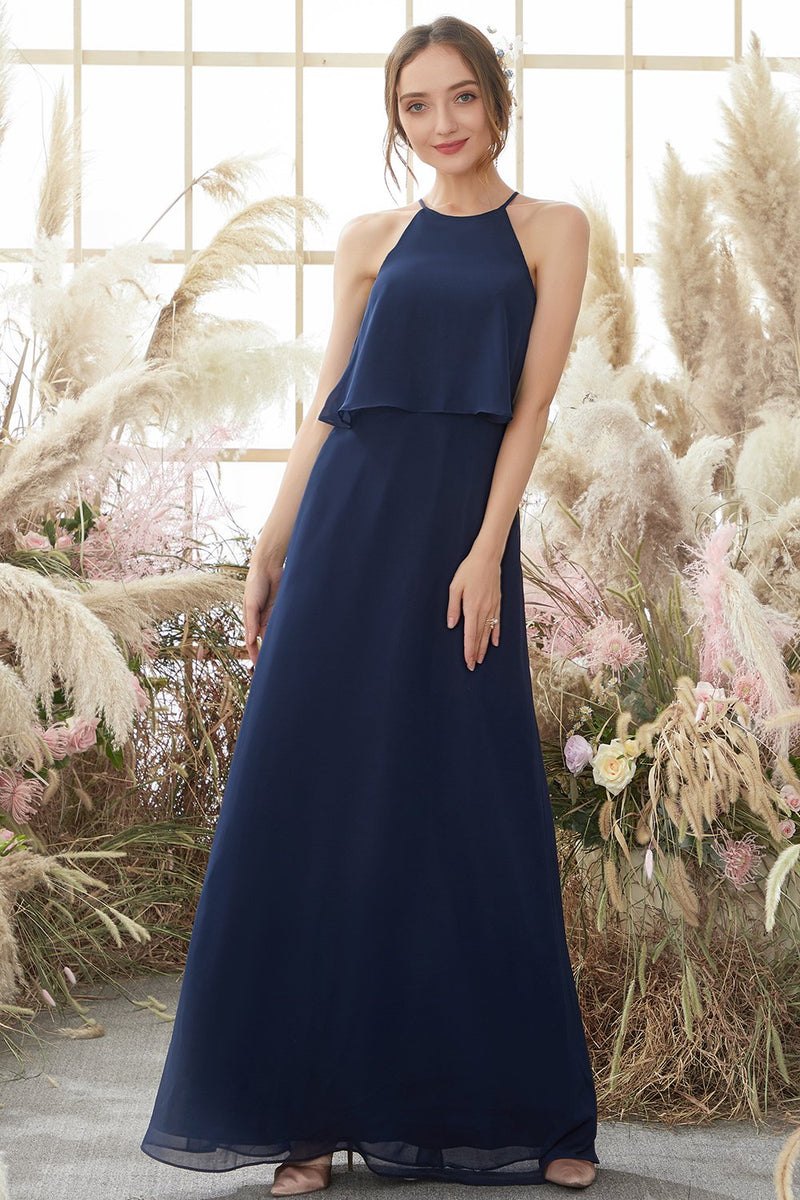 Load image into Gallery viewer, Halter Navy Chiffon Bridesmaid Dress