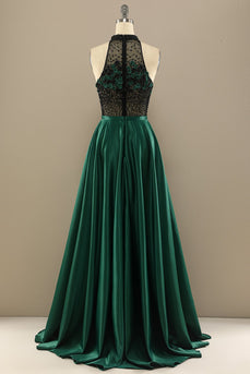 Dark Green Long Beaded Prom Dress With Flowers