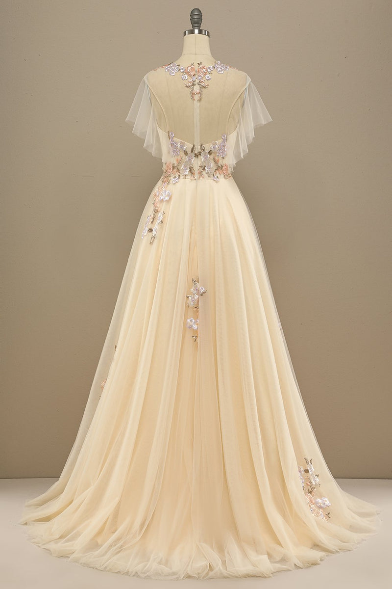 Load image into Gallery viewer, Yellow Long Prom Dress With Appliques