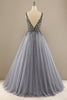Load image into Gallery viewer, Grey V Neck Long Beaded Prom Dress