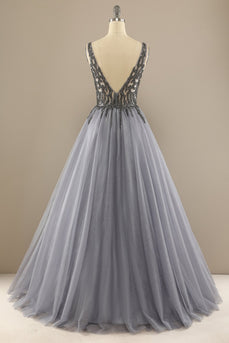 Grey V Neck Long Beaded Prom Dress