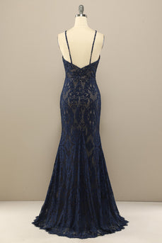 Navy Mermaid Lace Long Prom Dress
