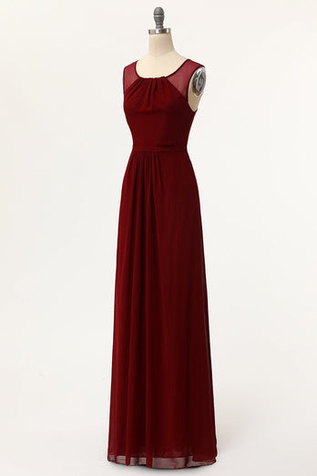 Burgundy A-Line Long Prom Dresses