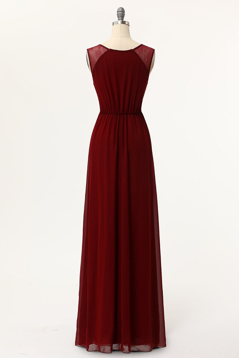 Load image into Gallery viewer, Burgundy A-Line Long Prom Dresses