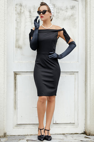 Black Off the Shoulder Bodycon Dress