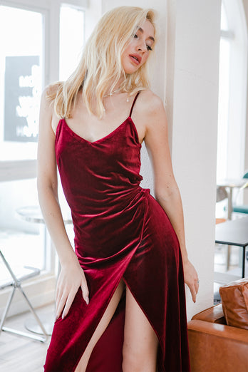 Red Velvet Evening Party Dress