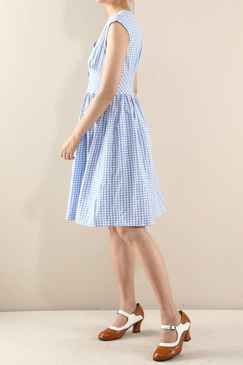 Load image into Gallery viewer, Blue 1950s Button Plaid Swing Dress