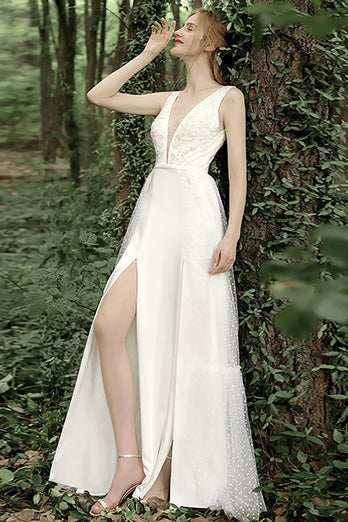 A Line Deep V Neck White Wedding Dress with Appliques