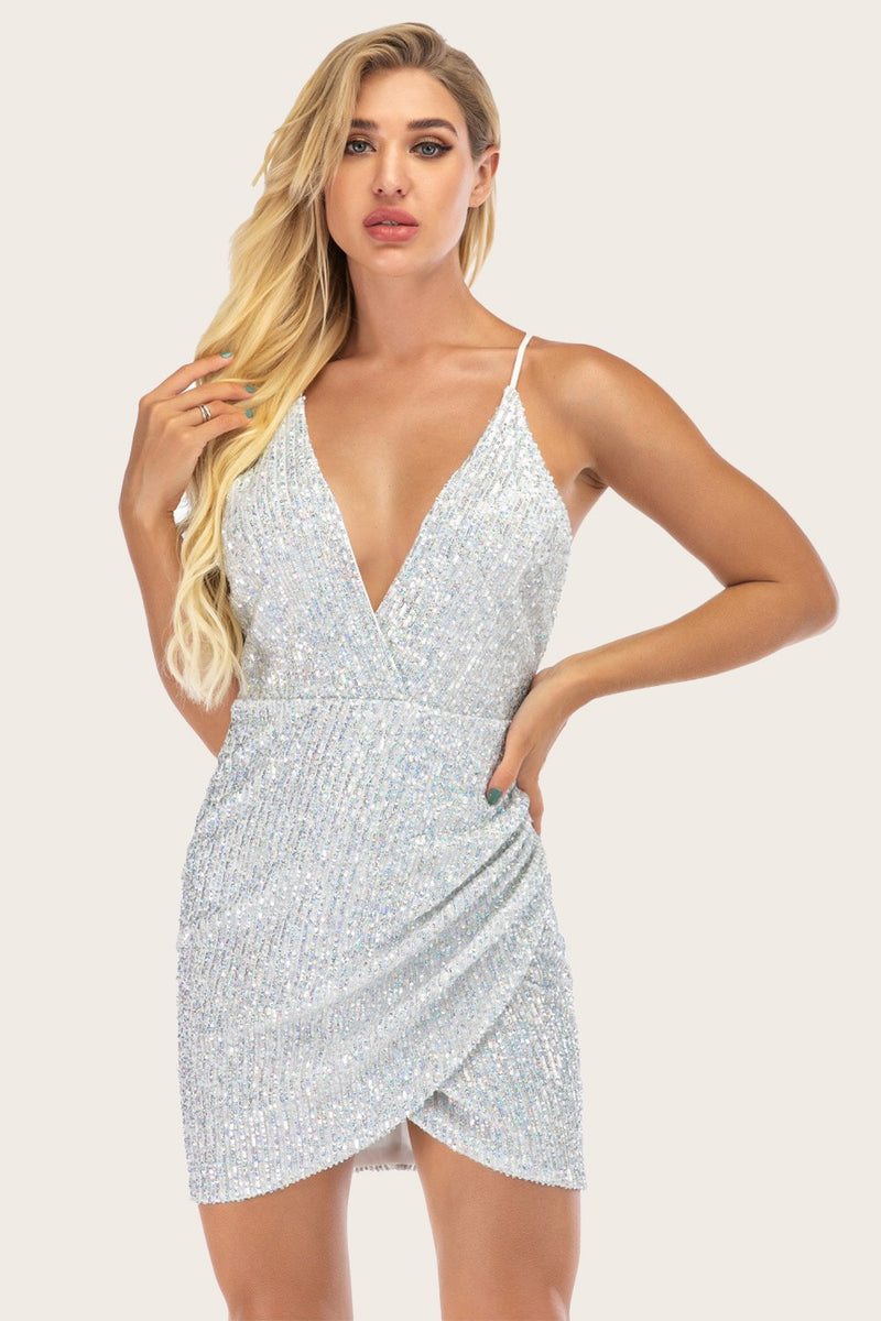 Load image into Gallery viewer, Silver Sequin Bodycon Cocktail Dress