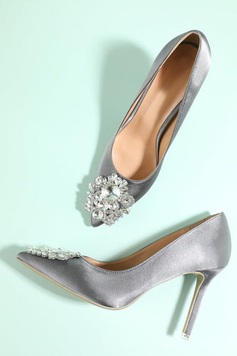Grey Rhinestone Party Shoes