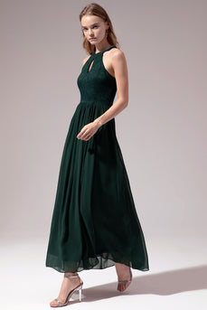 Dark Green Halter Long Party Dress