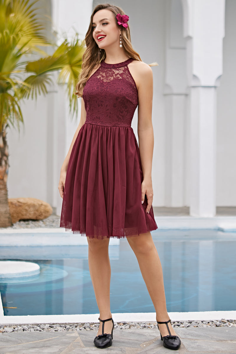 Load image into Gallery viewer, Burgundy Halter Lace Dress