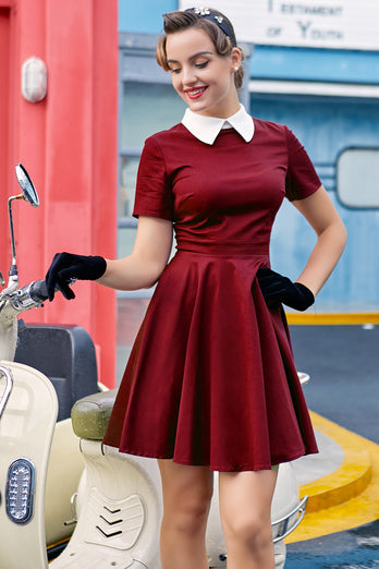 Burgundy Peter Pans 50s Dress