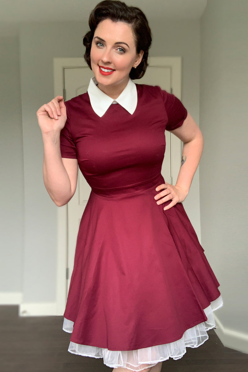Load image into Gallery viewer, Burgundy Peter Pans 50s Dress