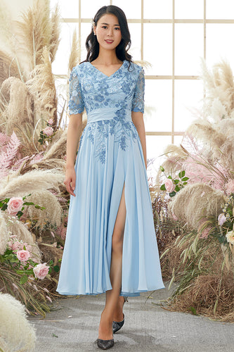 V Neck Blue Mother of Bride Dress with Appliques
