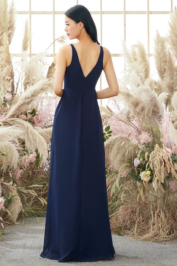 Blue V Neck Chiffon Bridesmaid Dress