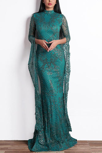 Green Mermaid Long Sequin Prom Evening Dress