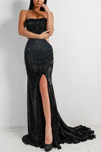 Sexy Black Mermaid Backless Sequin Prom Dress