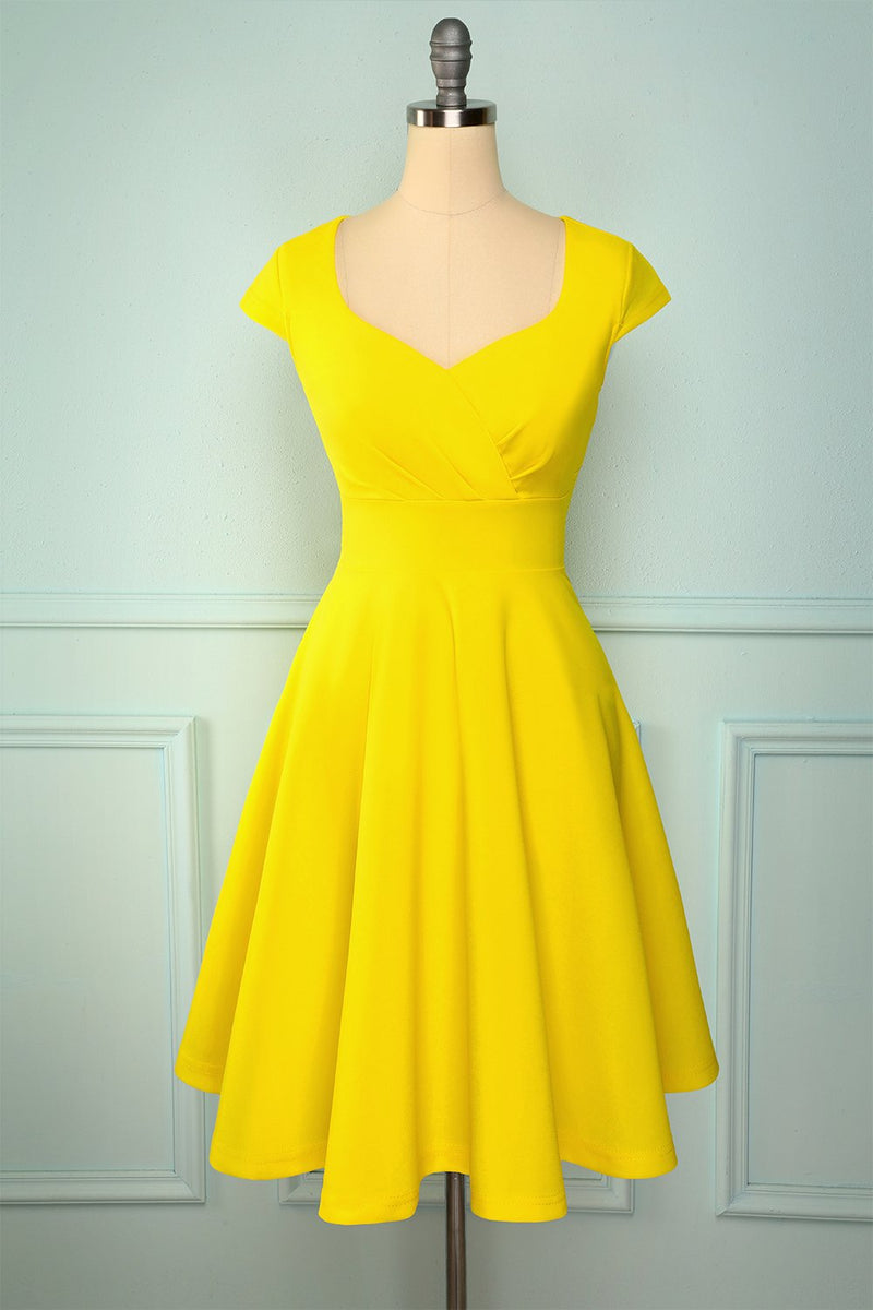 Load image into Gallery viewer, Yellow Solid Hoco Dress