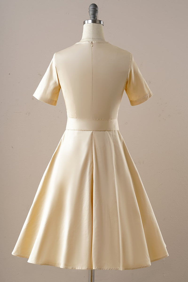Load image into Gallery viewer, Vintage Apricot Square Neck 1950s Dress