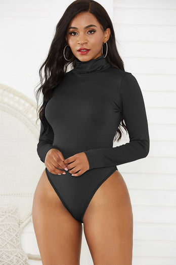 Black One Pieces Long Sleeves Bodysuit