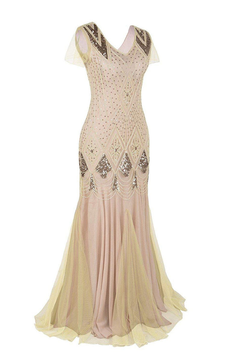 Load image into Gallery viewer, Pink 1920s Sequins Flapper Long Dress