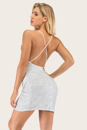 Silver Sequin Bodycon Cocktail Dress