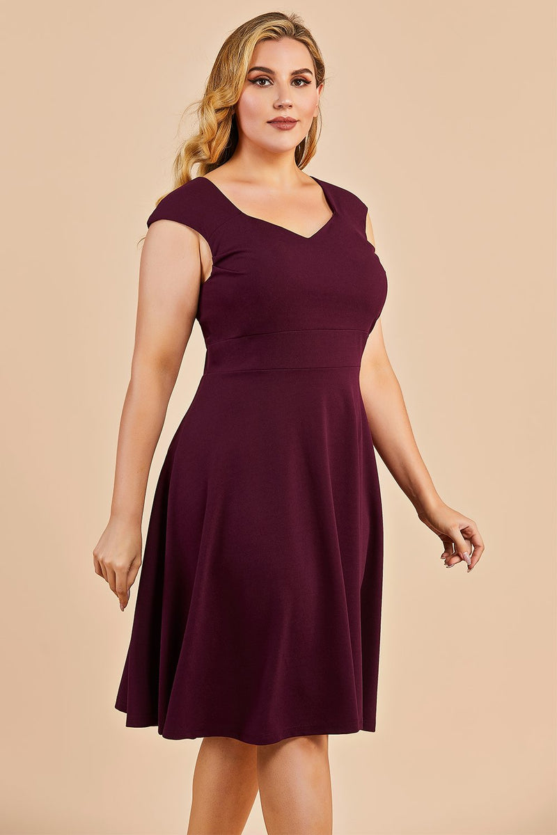 Load image into Gallery viewer, Burgundy Plus Size Homecoming Party Dress