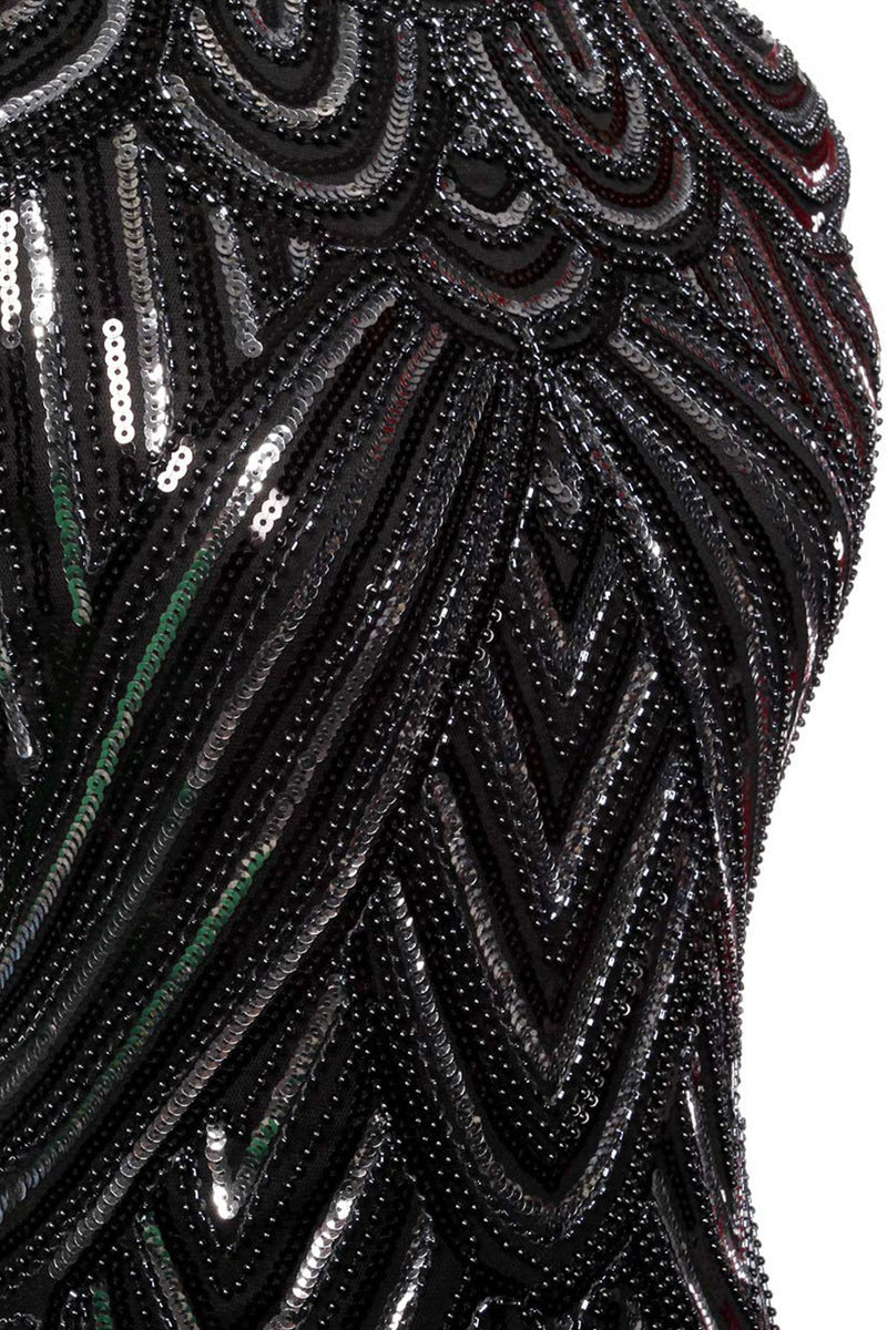 Load image into Gallery viewer, Black Gatsby Glitter Fringe 1920s Dress