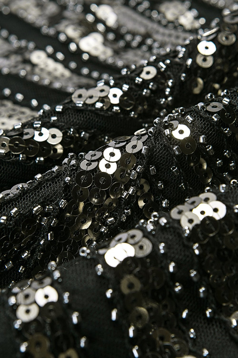 Load image into Gallery viewer, Black Mermaid 1920s Sequined Flapper Dress
