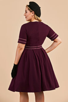 Burgundy Vintage Plus Size Dress With Sleeves