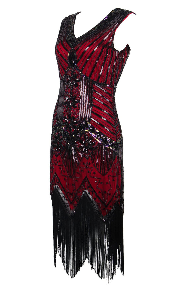 Load image into Gallery viewer, Red Glitter Fringe 1920s Flapper Dress