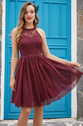Burgundy Halter Lace Dress