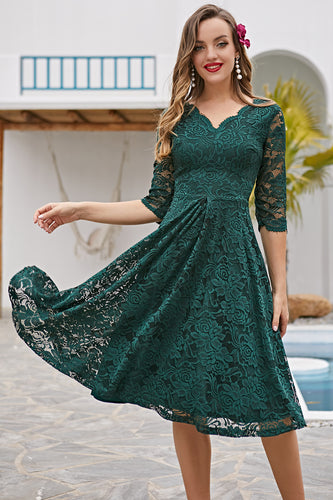 Dark Green 3/4 Sleeves Formal Dress