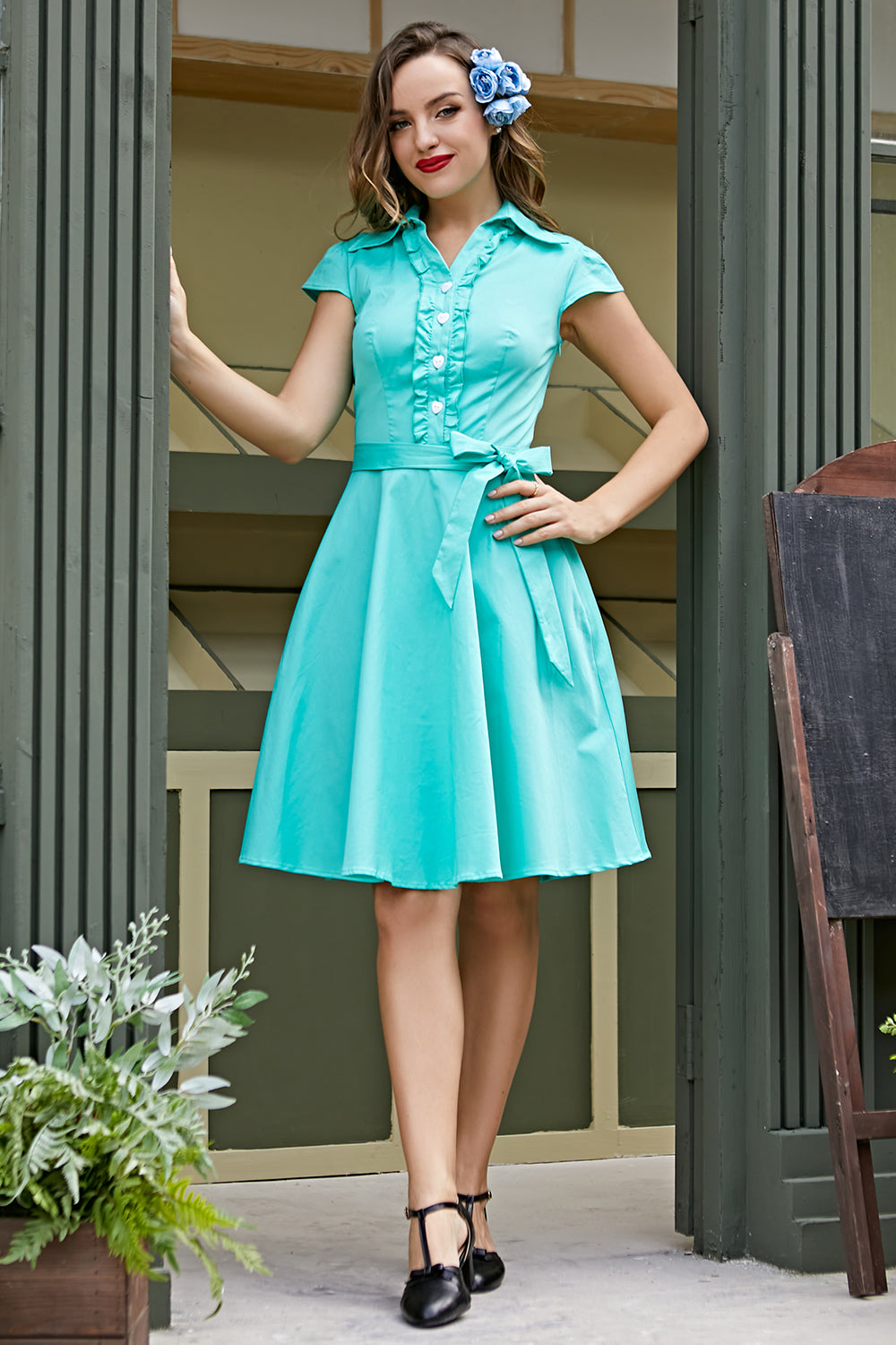 Retro Cap Sleeve 1950s Dress