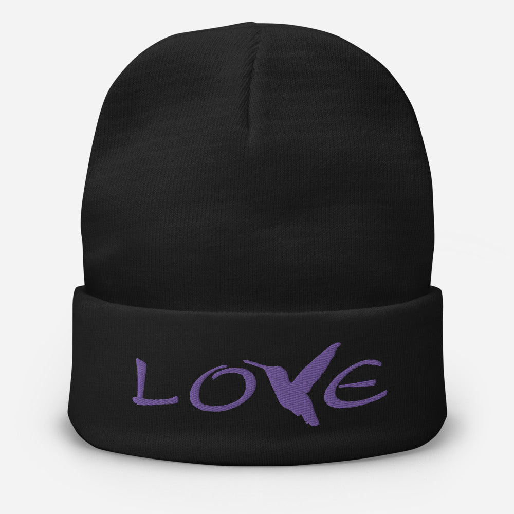LOVE (Purple Thread) ~ Embroidered Beanie
