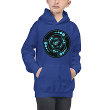 Load image into Gallery viewer, Galactic Portal - (Turquoise & Black) ~ Kids Unisex Hoodie