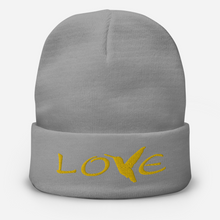 Load image into Gallery viewer, LOVE (Gold Thread) ~ Embroidered Beanie