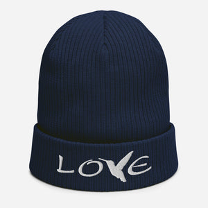 LOVE (White Thread) ~ Organic Cotton Beanie